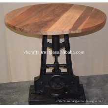 Industrial Draft Crank Single Base Recycle Wood Table