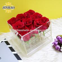 Jinbao presente de cristal namorada decoração de casamento claro 9 16 36 caixa de flor de acrílico