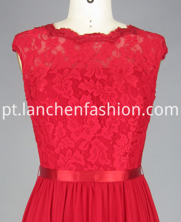 Chiffon Dress with Lace