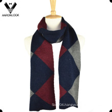 Fashion Mens Woolen Diamond Knitting Pattern Scarf
