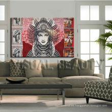 Moderno cuadro promocional de las mujeres de la lona del retrato de la pared para la decoración