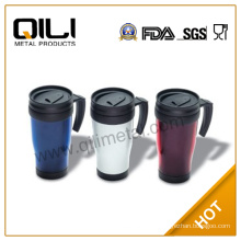 Colored bpa free promotion plastic auto cup plastic with screw on lid bring the straw and has the handle