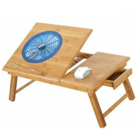 Bamboo Laptop Desk with USB Fan and Drawer