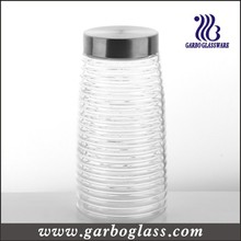 Cross Stripe Lidded garrafa de vidro alto e recipiente de alimentos (GB2102F-1)