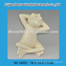 Yellow ceramic frog statues for 2016 home decor