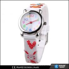 Relógio de crianças de silicone, pulseira 3D de 3 ATM resistente à água