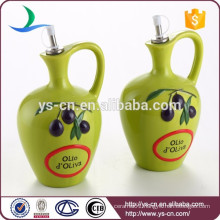 Green Ceramic Oil Bottle With the handle