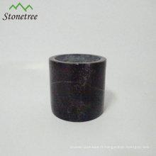 Coupe de bougie en pierre marbrée
