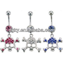 Dangle skull pendant navel belly rings piercing jewelry