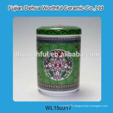 Elegant ceramic sugar canister with flower figurine