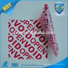 Gewohnheit Garantie void Aufkleber gedruckt mit maßgeschneiderten Logo für Papierkarton Verpackung