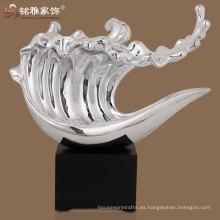 estatuilla de plata de la onda del color de la alta calidad para el ornamento casero de la tabla