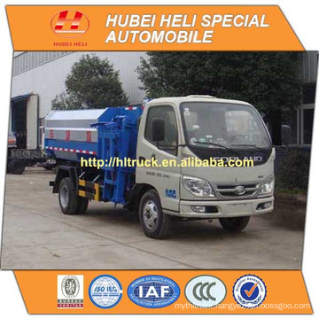 FOTON 4x2 4M3 small hanging bucket garbage truck 98hp hot sale for export