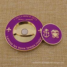 Promotion Custom Soft Enamel Metall Golf Ball Marker Herausforderung Münzen