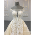 Latest Stretchy Bridal Dress Sexy Sheer Lace Back Vestido De Novia Spain Wedding Gowns