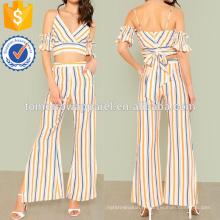 Rayé épaule froide Surplice Crop Top avec pantalons fendus Fabrication de mode en gros femmes vêtements (TA4085SS)