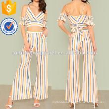 Striped Cold Shoulder Surplice Crop Top With Slit Pants Manufacture Wholesale Fashion Women Apparel (TA4085SS)