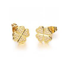 Boucles d'oreille de cristal d'or de Dubaï 18k, boucles d'oreille de fleur de placage de cuivre bijoux