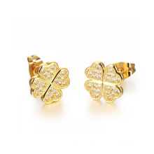 Dubai 18k gold crystal stud earrings,copper plating flower earrings jewelry
