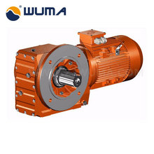 Helical bevel gear speed reducer with motor iron material