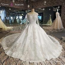 LS00112 modeste talon de cristal les plus récents modèles de robe occidentale pour les femmes mariées robes longues avec manches longues dresse de mariage en satin