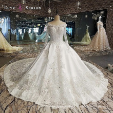 LS00112 contas de cristal modestas últimos padrões de vestidos ocidentais para senhoras vestidos de casamento com mangas longas dresse de casamento de cetim