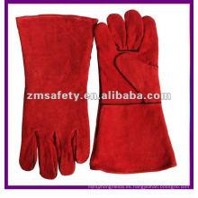 Guantes de soldadura de piel de vaca roja de seguridad para soldadores que trabajan ZMR107