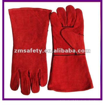 Gants de soudage en cuir fendu de vache de sécurité rouge pour les soudeurs travaillant ZMR107