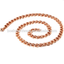 Fashion High Quality Metal Rose Gold Stainless Steel Curb Chain