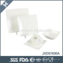 conjunto de louça de porcelana branco quadrado conjunto de jantar de porcelana, 30pcs conjunto de jantar