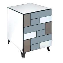 Chevet 3 tiroirs couleur MDF miroir peinture noire