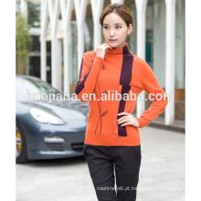 Suéter de caxemira feminino bordado à mão