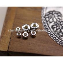 Sef022 50pc / lot 925 серебра ручной работы DIY аксессуары оптовой 3/4 / 5MM тайский серебряный проставка бисер круг плоские бусы