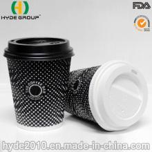 Tasse jetable de café de papier peint d'ondulation de 8 onces pour le Take-Away