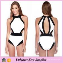 2016 Europa Bikini vendendo quente americano costura Cor One Piece Swimsuit Mulheres com Split Voltar