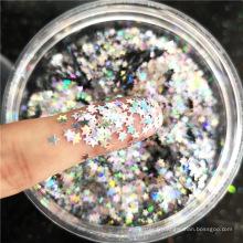 Paillettes d'ANIMAL FAMILIER de boue de cristal de boue de cristal d'étoiles multicolores de pentagramme de paillettes