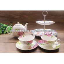 Hign calidad real fina hueso china porcelana boda pastel de cerámica de pie