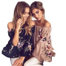 Новые поступления мода резки блузка дизайн слово воротник без рукавов женщин блузка