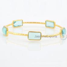 Aqua Quarz Multi Edelstein 18k Gold überzogene Armbänder für Großverkauf