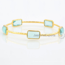 Aqua Quartz Multi Gemstone 18k Gold Plated Bangles For Wholesale