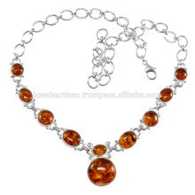 Amber Gemstone 925 Sterling Silver Necklace Jewelry