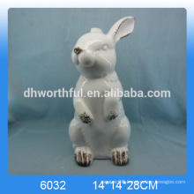 2016 new arrival hotsale ceramic standing rabbit,ceramic rabbit figurine,ceramic rabbit statue
