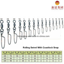 Brass Material Rolling Swivel with Coastlock Snap Fishing Swivel