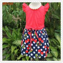Polkdot Bottom Checkskirt Filles Coton Robe pour l'été