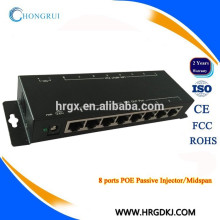 10 / 100M passif 8 ports PoE Injector 48v