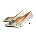 gold metal heel Good Quality customs design OEM Fashion lady evening party shoes pump