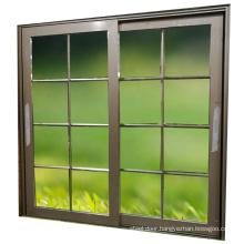 Bedroom aluminum alloy glass grill sliding door with grid aluminum