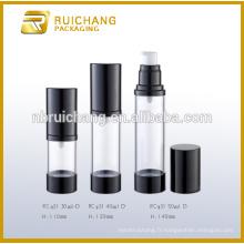 30 ml / 40 ml / 50 ml de bouteille sans air, bouteille ronde en aluminium sans air, bouteille étanche sans cosmétiques