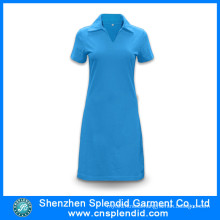 Shenzhen Wholesale Cotton Blue Polo Shirt Dresses for Women