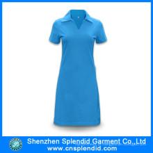 Shenzhen atacado algodão azul camisa pólo vestidos para as mulheres